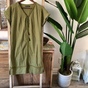 🍃NWOTBeautiful olive green Linen&embroidery dress